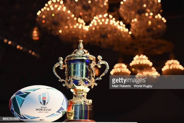 Webb Ellis Cup is seen with the official match ball during the Rugby World Cup 2019 match schedule announcement at Grand Prince Hotel Shin Takanawa...