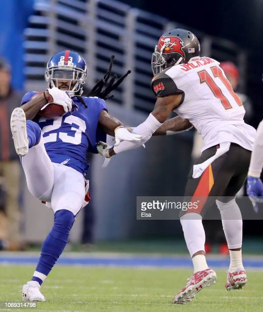 W Webb of the New York Giants picks off a pass intended for DeSean Jackson of the Tampa Bay Buccaneers in the final seconds of the game at MetLife...