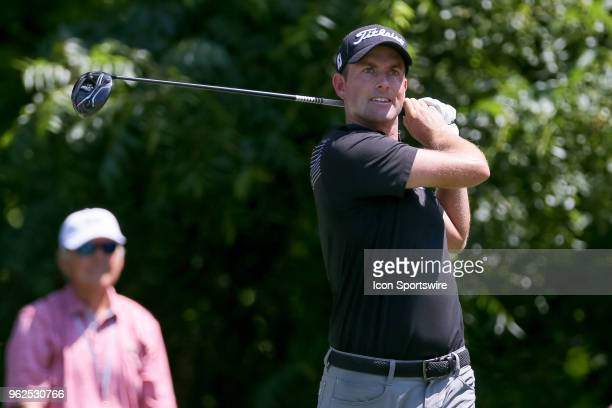 Webb Simpson hits his tee shot on during the second round of the Fort Worth Invitational on May 25 2018 at Colonial Country Club in Fort Worth TX