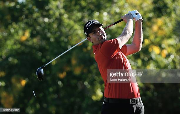 Webb Simpson hits his tee shot on the 16th hole during the second round of the Shriners Hospitals for Children Open at TPC Summerlin on October18...