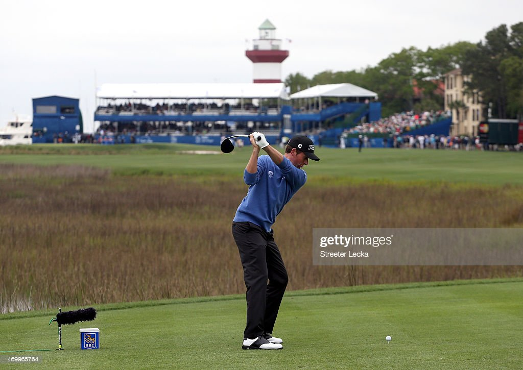 Webb Simpson hits his tee shot on the 18th hole during the first round of the RBC Heritage at Harbour Town Golf Links on April 16, 2015 in Hilton Head Island, South Carolina.