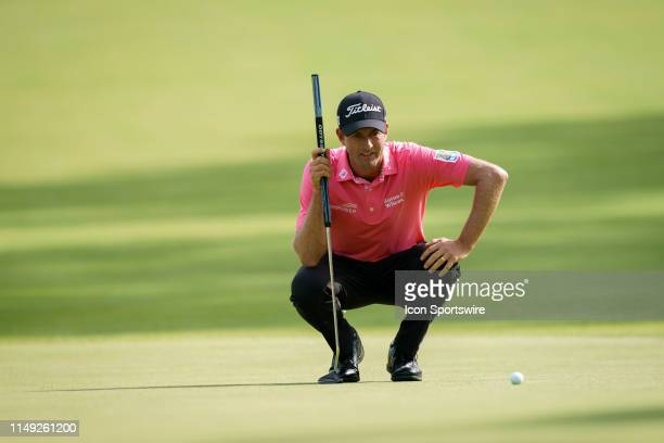 Webb Simpson lines a putt during the final round of the RBC Canadian Open at Hamilton Golf and Country Club on June 9 2019 in Ancaster ON Canada