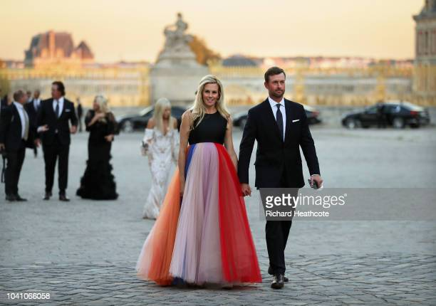 Webb Simpson of the United States and his wife Down Simpson arrive at the Ryder Cup gala dinner at the Palace of Versailles ahead of the 2018 Ryder...