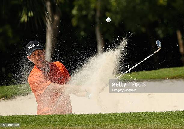 Webb Simpson of the United States hits to the seventh green from a greenside bunker during the third round of the OHL Classic at Mayakoba on November...
