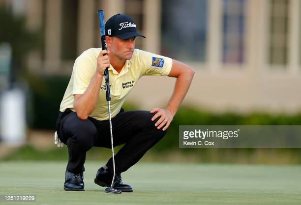 Webb Simpson of the United States lines up a putt 17during the final round of the RBC Heritage on June 21, 2020 at Harbour Town Golf Links in Hilton...