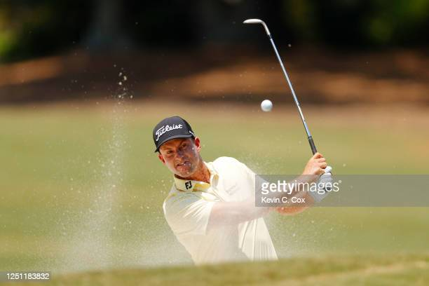 Webb Simpson of the United States plays a shot from a bunker on the second hole during the final round of the RBC Heritage on June 21, 2020 at...