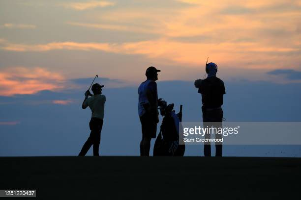 Webb Simpson of the United States plays his second shot on the 18th hole during the final round of the RBC Heritage on June 21, 2020 at Harbour Town...