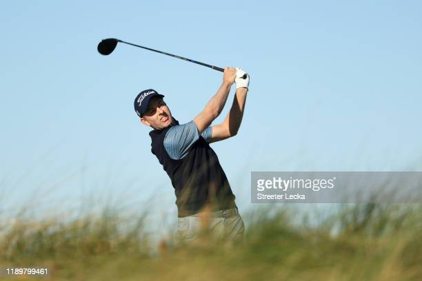 Webb Simpson of the United States plays his shot from the 15th tee during the final round of the RSM Classic on the Seaside course at Sea Island Golf...