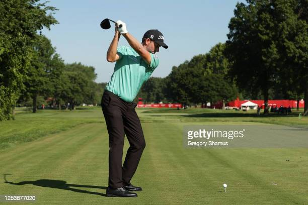 Webb Simpson of the United States plays his shot from the 17th tee during the first round of the Rocket Mortgage Classic on July 02, 2020 at the...