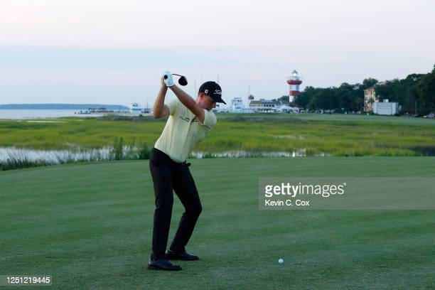 Webb Simpson of the United States plays his shot from the 18th tee during the final round of the RBC Heritage on June 21, 2020 at Harbour Town Golf...