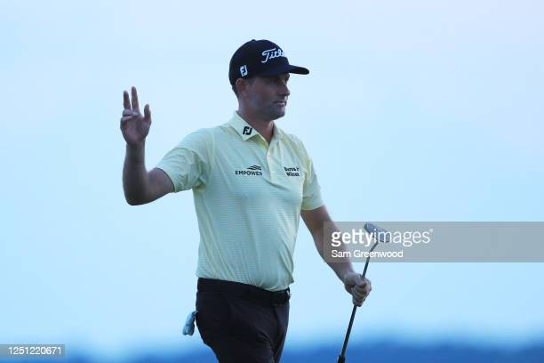 Webb Simpson of the United States reacts after finishing on the 18th green during the final round of the RBC Heritage on June 21, 2020 at Harbour...