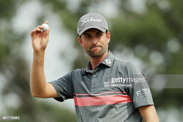 Webb Simpson of the United States reacts on the ninth green during the third round of THE PLAYERS Championship on the Stadium Course at TPC Sawgrass...
