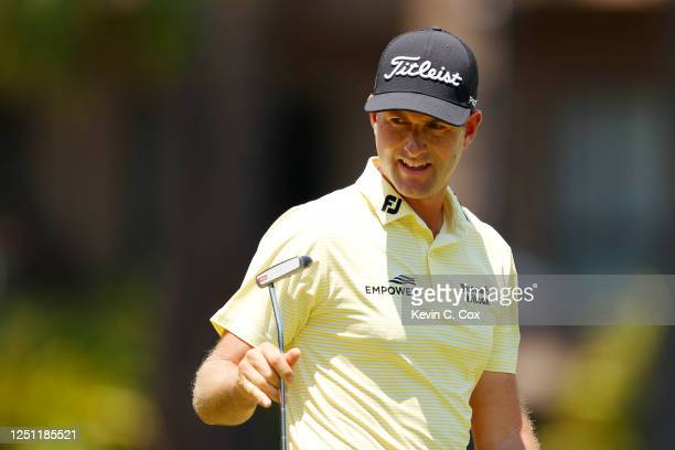 Webb Simpson of the United States reacts on the second green during the final round of the RBC Heritage on June 21, 2020 at Harbour Town Golf Links...