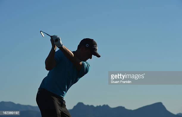Webb Simpson of USA plays a shot during the second round of the World Golf Championships Accenture Match Play at the Golf Club at Dove Mountain on...