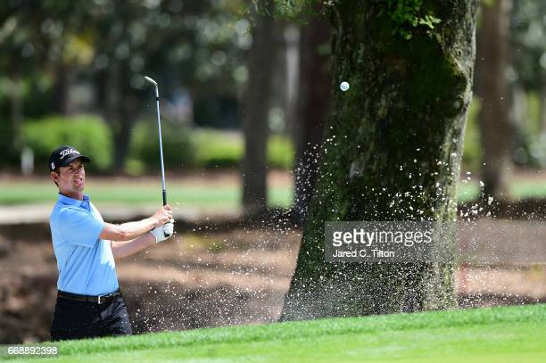 Webb Simpson plays his second shot from the bunker on the seventh hole during the third round of the 2017 RBC Heritage at Harbour Town Golf Links on...
