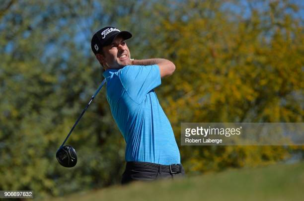 Webb Simpson plays his shot from the ninth tee during the first round of the CareerBuilder Challenge at the TPC Stadium Course at PGA West on January...