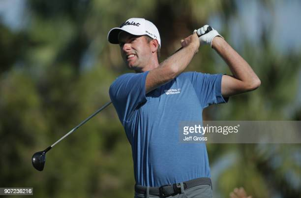 Webb Simpson plays his shot from the ninth tee during the second round of the CareerBuilder Challenge at the La Quinta Country Club on January 19...