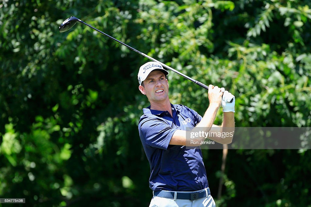 Webb Simpson plays his shot from the sixth tee during the Second Round of the DEAN & DELUCA Invitational at Colonial Country Club on May 27, 2016 in Fort Worth, Texas.