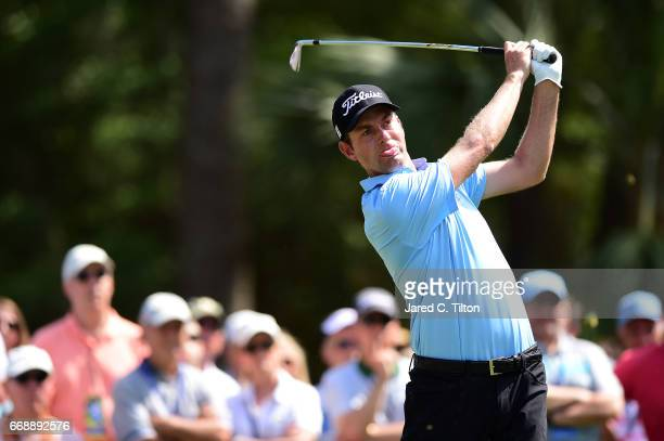 Webb Simpson plays his tee shot on the ninth hole during the third round of the 2017 RBC Heritage at Harbour Town Golf Links on April 15 2017 in...