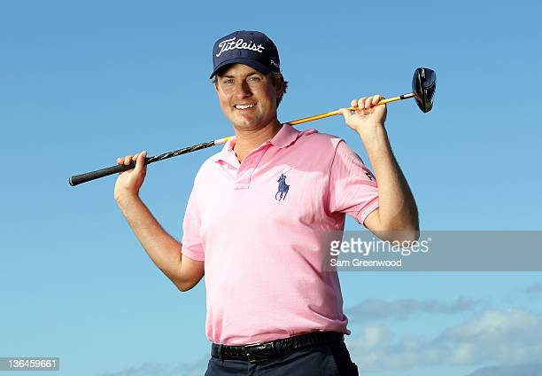 Webb Simpson poses for a portrait during the pro-am round of the Hyundai Tournament of Champions at the Plantation course on January 5, 2012 in...
