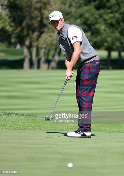 Webb Simpson puts on the 16th green during the first round of the BMW Championship at Cog Hill Golf Country Club on September 15 2011 in Lemont...