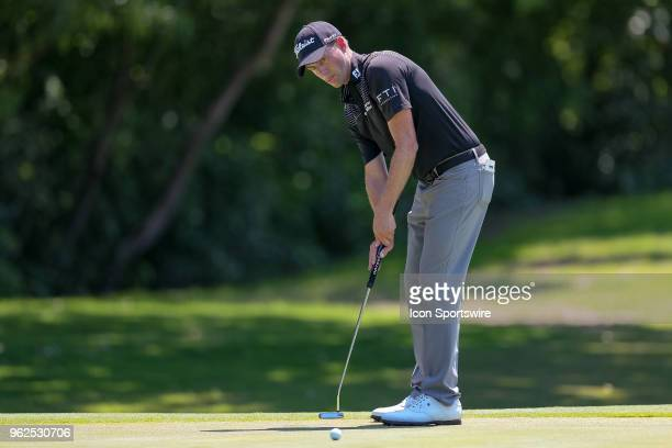 Webb Simpson putts on during the second round of the Fort Worth Invitational on May 25 2018 at Colonial Country Club in Fort Worth TX