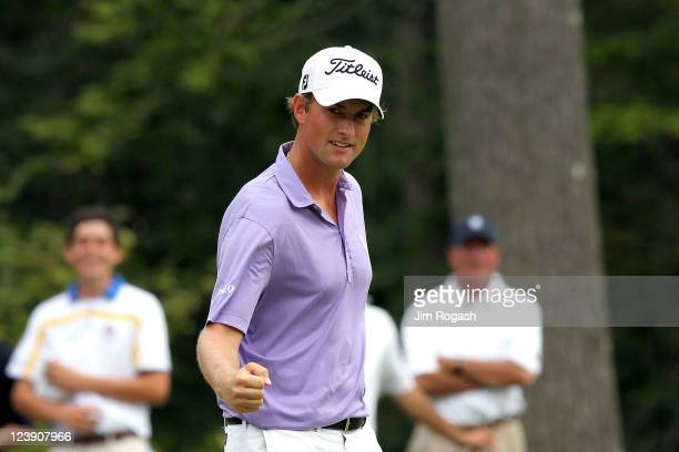 Webb Simpson reacts after he made an eagle on the seventh hole during the final round of the Deutsche Bank Championship at TPC Boston on September 5...