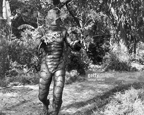1954 Webbed hands and feet characterize this halffish halfman monster the 'Gill Man' who appeared in Universal's 'The Creature From the Black Lagoon'...