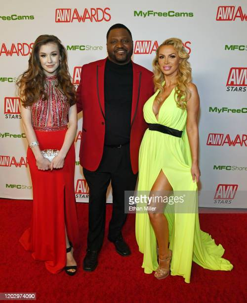 Webcam model Emily Bloom actor/comedian Aries Spears and adult film actress Nikki Benz attend the 2020 Adult Video News Awards at The Joint inside...