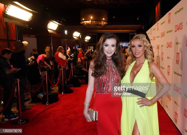 Webcam model Emily Bloom and adult film actress Nikki Benz attend the 2020 Adult Video News Awards at The Joint inside the Hard Rock Hotel Casino on...