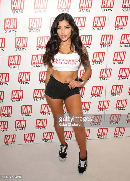 Webcam model Skyler Lo poses at the AVN Stars booth during the 2020 AVN Adult Expo at the Hard Rock Hotel Casino on January 24 2020 in Las Vegas...