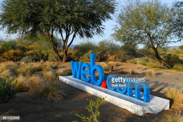 A webcom sign is displayed bear the18th hole during the final round of the Webcom Tour Qualifying Tournament at Whirlwind Golf Club on the Cattail...