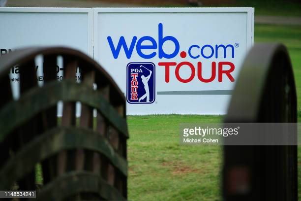 Webcom TOUR sign is seen near the ninth hole tee box during the continuation of the second round of the BMW Charity ProAm presented by SYNNEX...