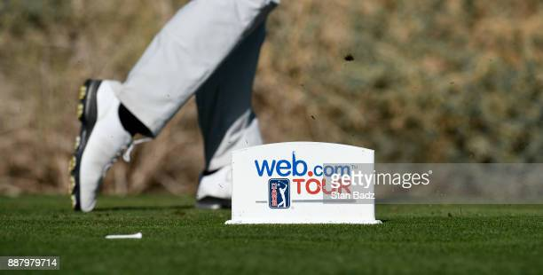 A webcom TOUR tee box marker is located on the 13th hole during the first round of the Webcom Tour Qualifying Tournament at Whirlwind Golf Club on...
