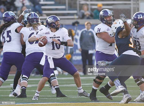 Weber State Wildcats quarterback Jadrian Clark steps up in the pocket to throw the ball down the field late in the third quarter The Chattanooga Mocs...