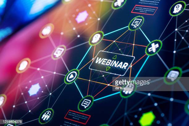 webinar services presentation and infographics - web conference stock pictures, royalty-free photos & images