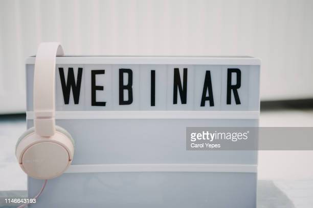 webinar text in lightbox. - webinar stock photos and pictures