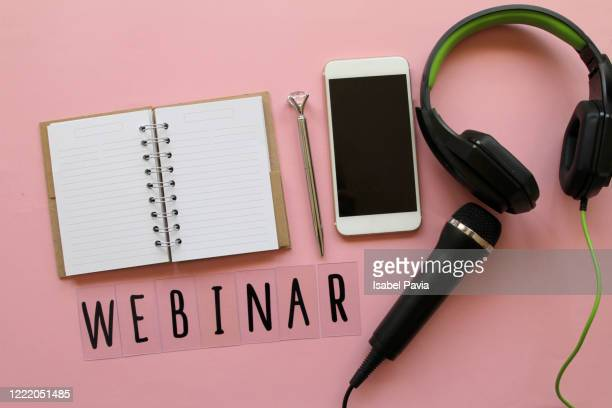 webinar text, smart phone, headphones and microphone - pen stock pictures, royalty-free photos & images
