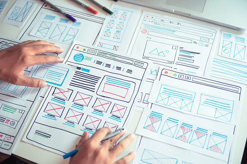 Website designer Creative planning application developer development draft sketch drawing template layout prototype framework wireframe design studio . User experience concept . 1206638576