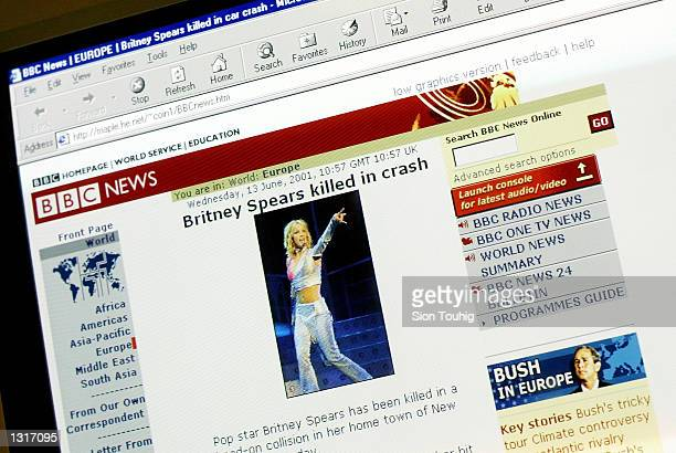 A website falsely identifying itself as BBC News with links connecting it to the real BBC News reports the death of pop singer Britney Spears June 13...