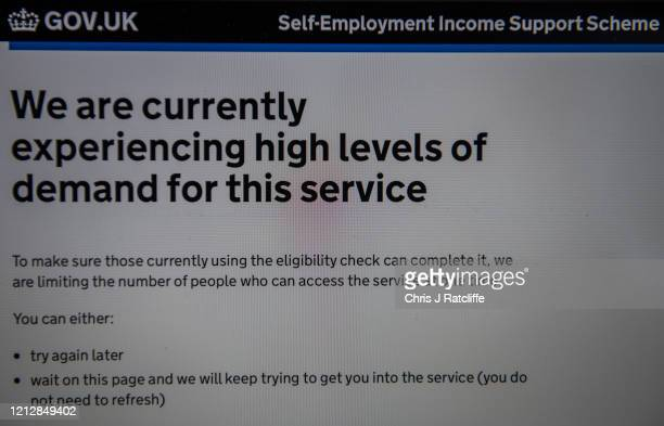 A website page for applying for the UK governments selfemployment income support scheme shows a message that they are experiencing high levels of...