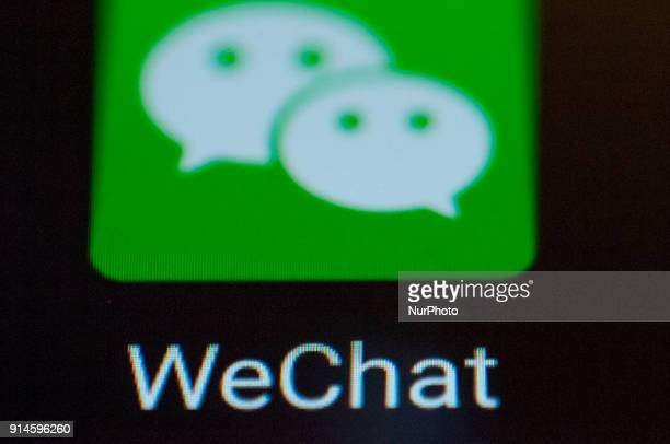 A WeChat messaging app logo is seen on an Android portable device on February 5 2018 WeChat is one of the most popular messaging apps in China