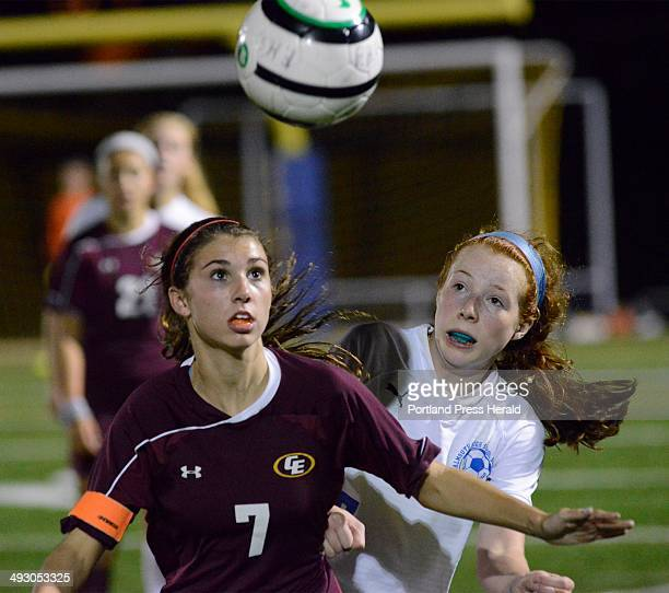 Wed Oct 2 2013 Cape's Katherine Clark and Falmouth's Emma England race to the ball as Falmouth HS girls soccer host Cape Elizabeth HS