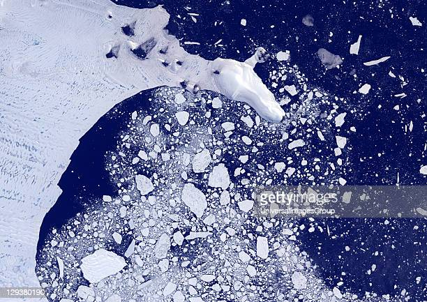 Weddel Sea Antarctica true colour satellite image Pack ice melting in spring time in the Weddel Sea East of the Antarctica peninsula Image taken on...