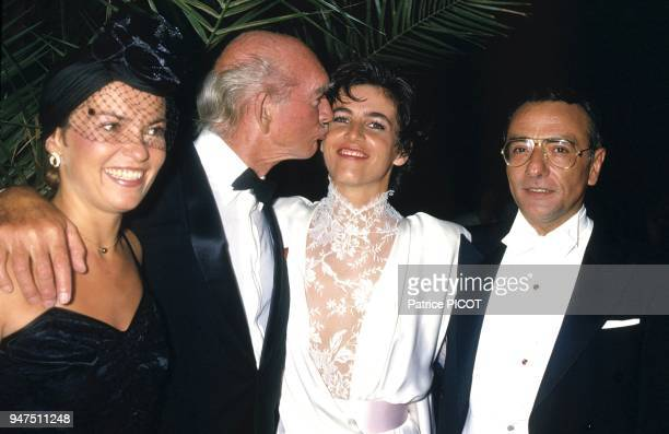 Weddind of Yves Mourousi with Veronique d'alencon with Cathy Esposito and Eddie Barclay 1985