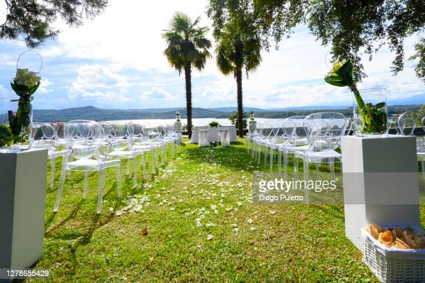 wedding aisle with rose petals - puletto diego stock pictures, royalty-free photos & images