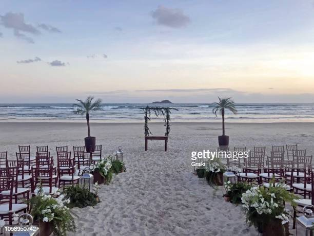wedding altar on the beach - altar stock pictures, royalty-free photos & images