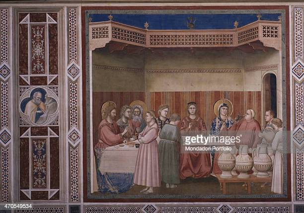 'Wedding at Cana by Giotto 13031305 14th Century fresco Italy Veneto Padua Scrovegni Chapel After restoration picture Whole artwork view The scene...