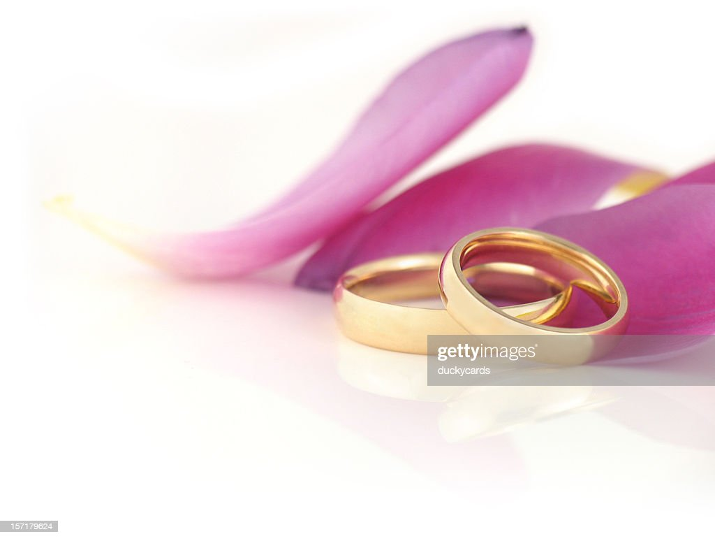 Wedding Bands With Tulip Petals Stock Photo | Getty Images