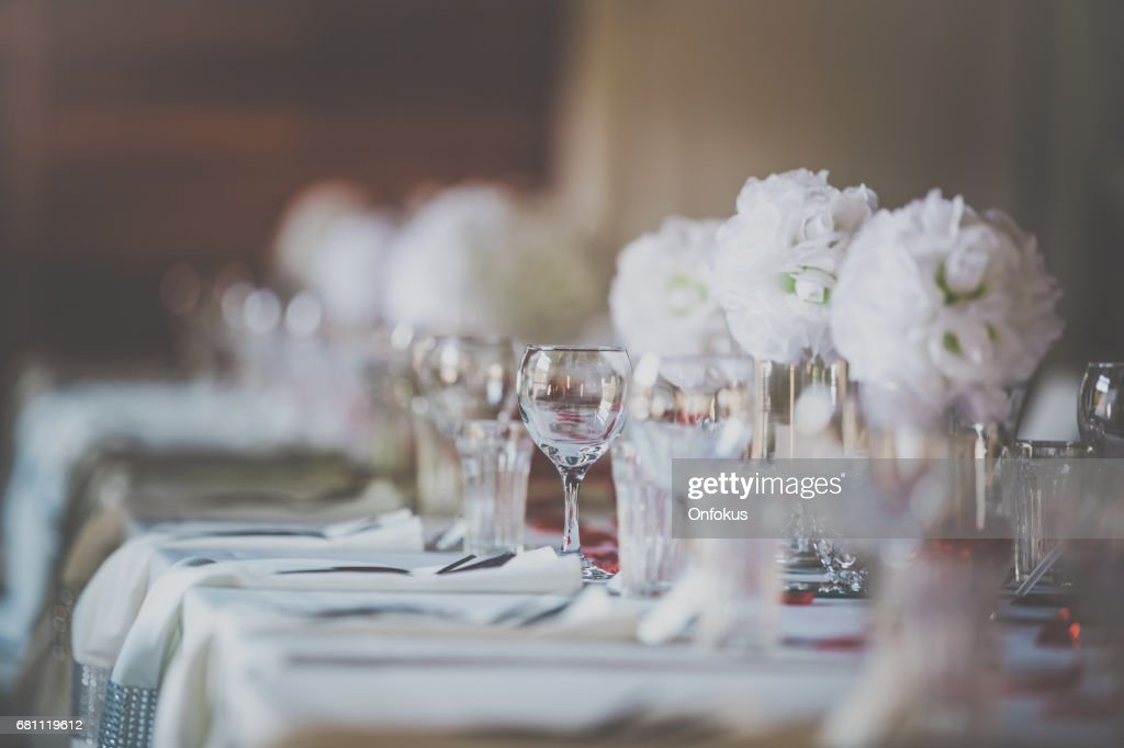 Wedding Birthday Reception Decoration, Chairs, Tables and Flowers : Stock Photo